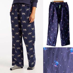 NWT L.L. Bean Flannel Pajama Pants | Ski Print
